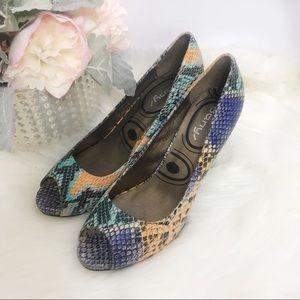 Shoes - Multi Print Snakeskin Peep Toe Pumps Banys